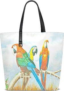 XiangHeFu Damen Handtaschen Malerei bunte Aras Papageien Polyester Stoff Schultertasche