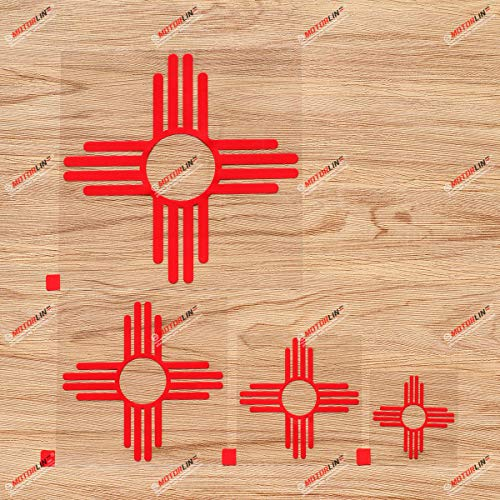 New Mexico State Flag NM Ancient Zia Sun Vinyl Decal Sticker - 4 Pack Red, 2 Inches, 3 Inches, 4 Inches, 6 Inches - No Background for Car Boat Laptop Cup Phone