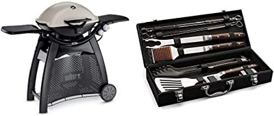 Weber 57060001 Q3200 Liquid Propane Grill with Cuisinart Grilling Set