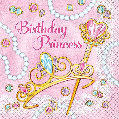 Unique Party - Servilletas de Papel - Diseño de Princesa Rosa - Paquete de 16 (58132)