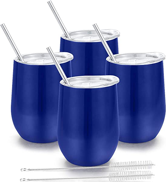 Insulated Wine Tumbler With Lid Deedro 12 Oz Double Wall Vacuum Insulated Wine Cup With Straws And Brushes Stemless Stainless Steel Wine Glass For Champagne Coffee Drinks 4 Pieces Blue