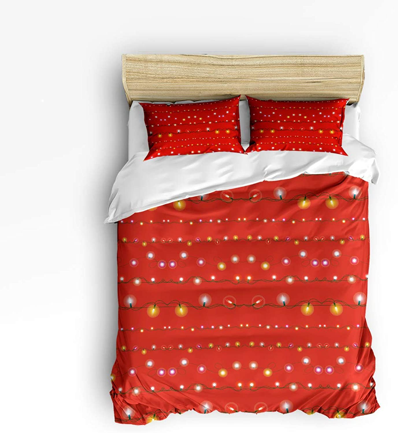 Xmas Celebration Themed 3 Pieces Luxury Duvet Cover Set Christmas Light Red Bedding Sets Bedroom Decoration Ultra Soft Bed Set with Zipper, 1 Duvet Cover and 2 Pillow Shams
