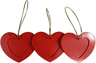 Tomokazu Bryant Red Walnut Wood Heart Photo Christmas Ornament, Pack of 3