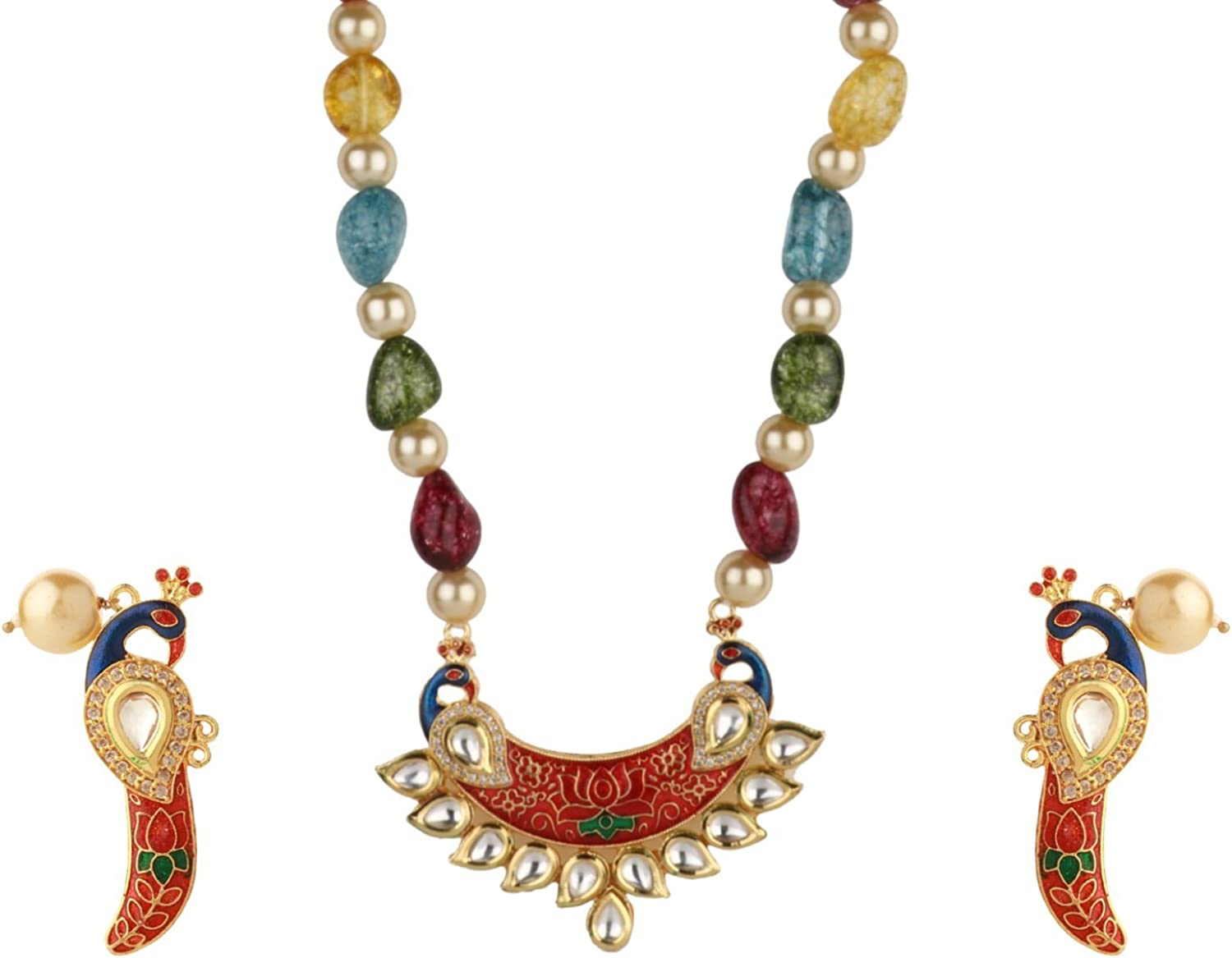 Efulgenz Boho Indian Bollywood Antique Gold Plated Faux Pearl Beaded Bridal Wedding Strand Statement Necklace Earrings Jewelry Set (Color Options) (Multicolor)