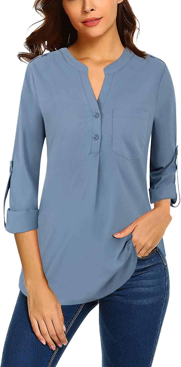 Bulotus Women Chiffon Blouses for Work 3/4 Sleeve V Neck Business Casual Tops