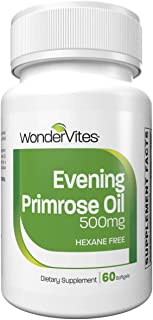 WonderVites Evening Primrose Oil 500mg, Natural Source of Gamma-Linolenic Acid, Soft Gels, Cold Pressed with No Fillers or...