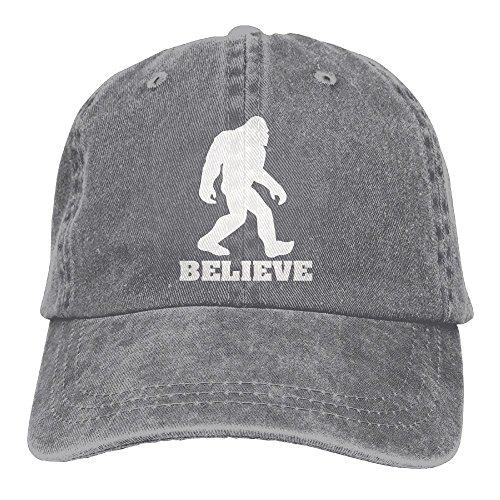 YISHOW I Believe Bigfoot Unisex Fashion Denim Bucket Hat Popular Popular Snapback Caps Cool Adjustable Dad Cap (Ash)