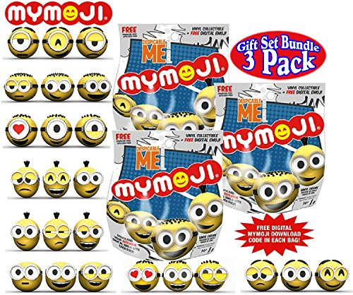 Funko Despicable Me Minions Mymoji Mini Vinyl Action Figure Mystery Blind Bags Gift Set Party Bundle - 3 Pack (Assorted)