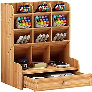 Cosanter Porte-stylo en Bois Pot à Crayons Boîte de Rangement Multi-fonctionnels Organisateur en Stylo Pot Crayon Containe...