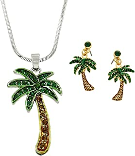 Lola Bella Gifts Crystal Palm Tree Necklace and Earrings Set with Gift Box