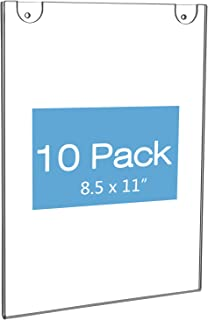 NIUBEE Acrylic Wall Sign Holder 8.5x11 Vertical, Clear Plastic Ads Frame for Paper, Bonus with 3M Tape and Mounting Screws(10 Pack)