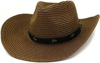 ウエスタンカウボーイハット 女性ウエスタンストローカウボーイハットフェドラハット屋外シーサイドビーチ帽子太陽五角形金属太陽帽子 (色 : コーヒー, サイズ : 56-58CM)