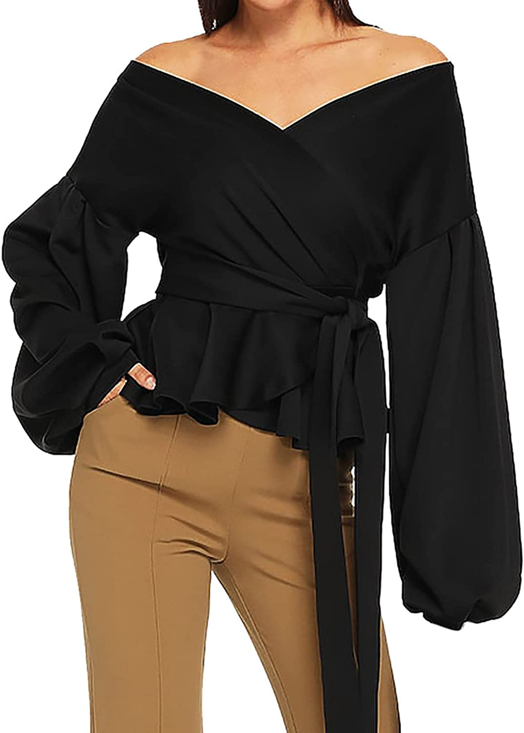Blouses for Women Lantern Sleeve Bow Belt Bandage Tops Low-Cut Solid Color Sexy Fashion Elegant Pullover Shirts