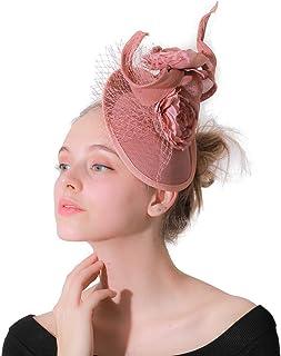 Mesh Fascinator Pillbox Hat Headband, Sinamay Flower Hair Clip Tea Party Banquet Wedding Veil Headwear