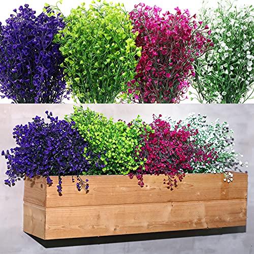 12 Pacchi Cespugli di Arbusti Artificiali Fiori Finti Piante Resistenti ai Raggi UV all'Aperto Fiori di Plastica Arbusti Verdi Piante Pendenti Finte per Decorazione Ufficio, Colore Misto