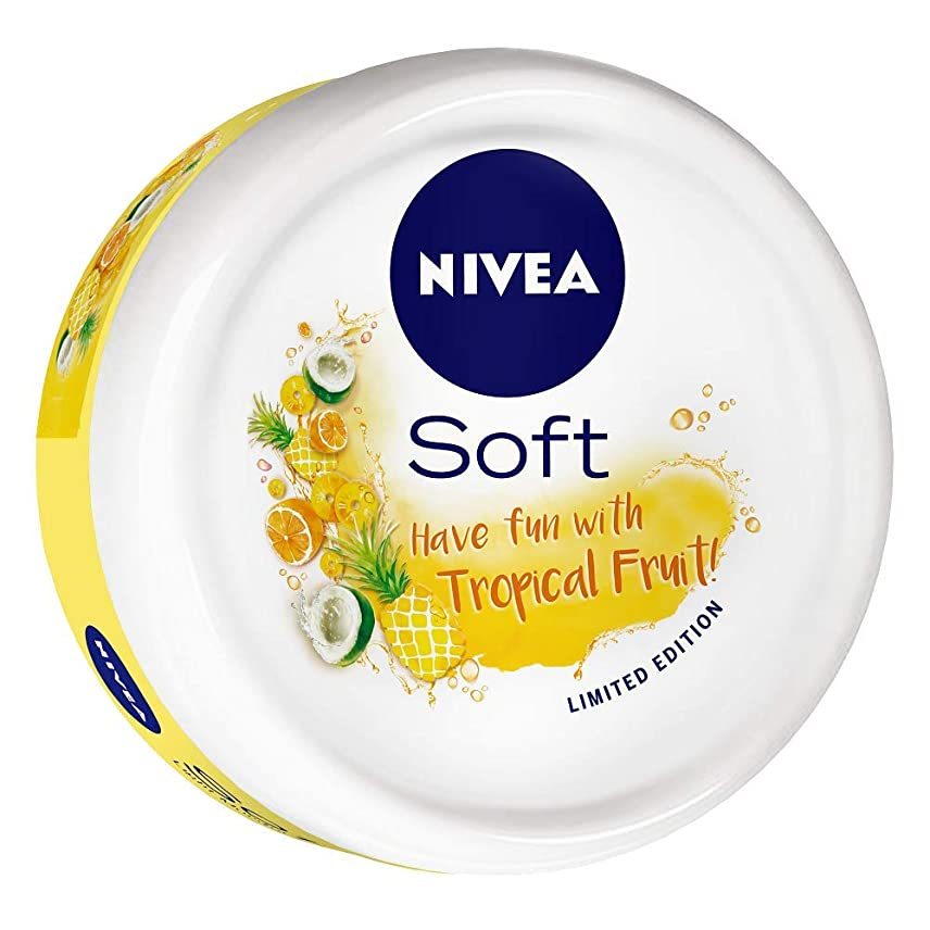 マイナーおんどり平方NIVEA Soft Light Moisturizer Tropical Fruit With Vitamin E & Jojoba Oil, 200 ml