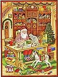 Grand Calendrier de l'Avent 24portes 355x 260mm-Festive Père Noël des jouets-Translucide avec paillettes et Windows-RS 752-Design Antique Allemand traditionnel