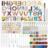 Zsroot Moldes de letras para juegos de resina, moldes para números de alfabeto grandes y pequeños, herramientas de epoxi y accesorios para llaveros y manualidades