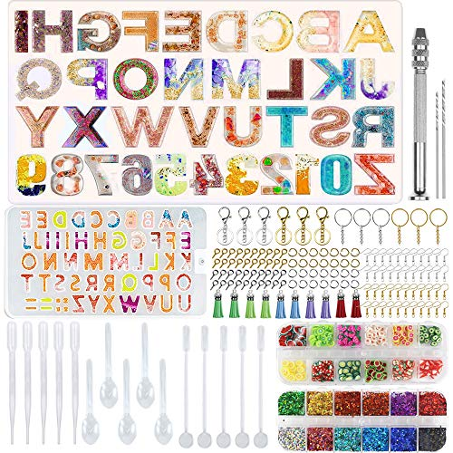Zsroot Buchstabenformen für Harz-Sets, Gussformen für Große und Kleine Alphabetnummern, Epoxid-Werkzeuge und Zubehör für Heimwerker-Schlüsselanhänger und Basteln