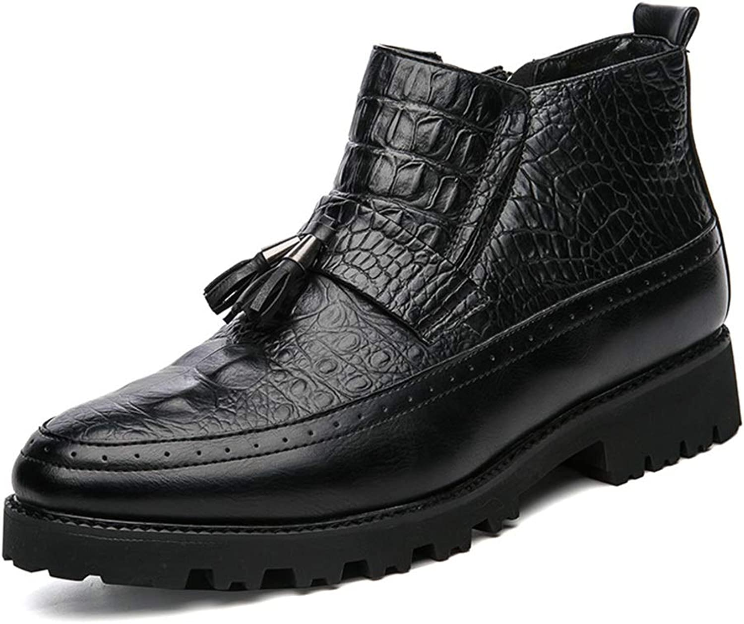 Men's Fashion Ankle Work Boot Casual Personality Crocodile Classic Tassel High Top Boot.