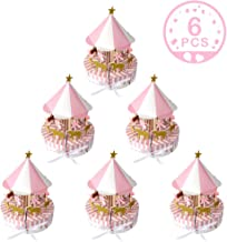 Wmbetter 6 Pcs Carousel Party Supplies Baby Shower Favors, Unicorn Theme Pink Carousel Candy Boxes Candy Gift Box for Birthday (Pink)