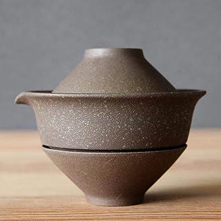 WEHOLY Inicio 1 Juego de Tazas de té portátiles de cerámica de Viaje Juego de té Juego de té Kung Fu Taza 1 Olla 2 Tazas Oficina en el hogar Tapa de la Taza para Beber Retro Tazón, Blanco
