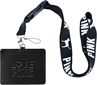 Love Pink Black Faux Leather Business ID Badge Card Holder with (Black with White Bold) Keychain Lanyard