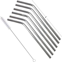 Prisha India Craft Eco-friendly Bent Drinking Stainless Steel Cocktail Straws, Best for Parties, Barware, | Set of 6 | Len...