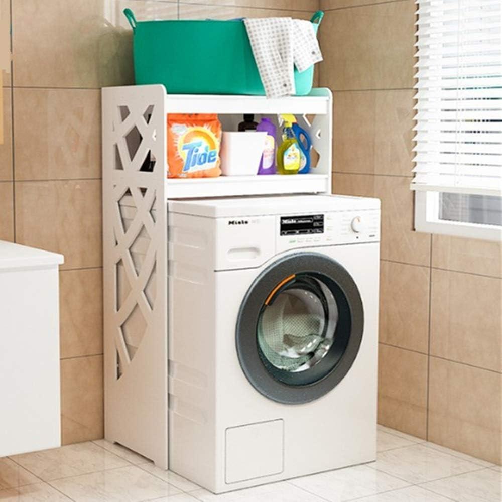 Blanco sobre la lavadora Estante de almacenamiento Estante de almacenamiento Organizador de la lavandería 3 estantes Impermeable Cuarto de baño Espacio Espacio Saver Organizador doméstico (Color: Blan