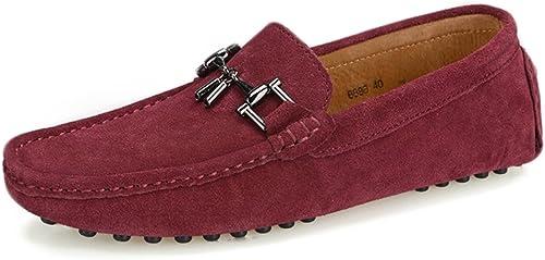 CHENDX Schuhe, Herrenmode Aus Echtem Leder Fahren Penny Loafers Wildleder Stiefel Mokassins Nieten Sohle Mit Metalldekor (Farbe   Weiß, Größe   43 EU)