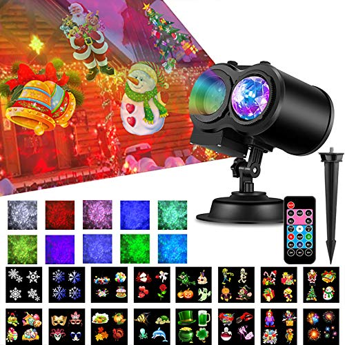 Christmas Projector Lights 2-in-1 Ocean Wave LED Projector Light Waterproof with Remote Timer for Halloween Christmas Outdoor Indoor Birthday Parties Bedroom Yard Decorations, 16 Slides 10 Colors