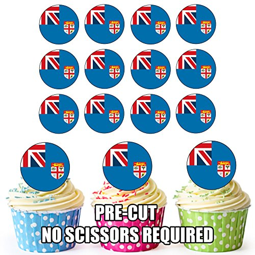 Fidschi-Flagge, essbare Cupcake-Dekorationen, 24 Stück, mühelosvorgeschnittene Kreise