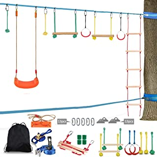 Lucky Link 49ft Ninja Warrior Slackline Obstacle Course, Jungle Gym Monkey Bars Kit for Kids Adults - Rope Ladder, Swing, ...