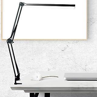 BZBRLZ - Lámpara de escritorio LED, diseño de arquitecta plegable con clamp, brazo giratorio de metal, control táctil