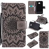 Ooboom® LG K5 Funda Flip Cover Wallet Case Carcasa Cubierta Piel PU Billetera Soporte Plegable con Tarjetero para LG K5 - Gris