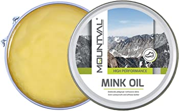 Mountval Mink Oil, quality shoe dubbin oil, nourishes waterproofs and protects outdoor shoes made of leather, 100.00ml, Transparent (Neutral)