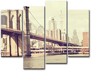 So Crazy Art 4 Piece Wall Art Painting Bridge Brooklyn New York Prints On Canvas The Picture City Pictures Oil For Home Modern Decoration Print Decor