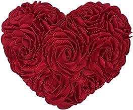 JWH 3D 花柄 ハート クッション 装飾枕 誕生日 パーティー プレゼント ロマンチック雰囲気 部屋 ソファ 車 飾り レッド