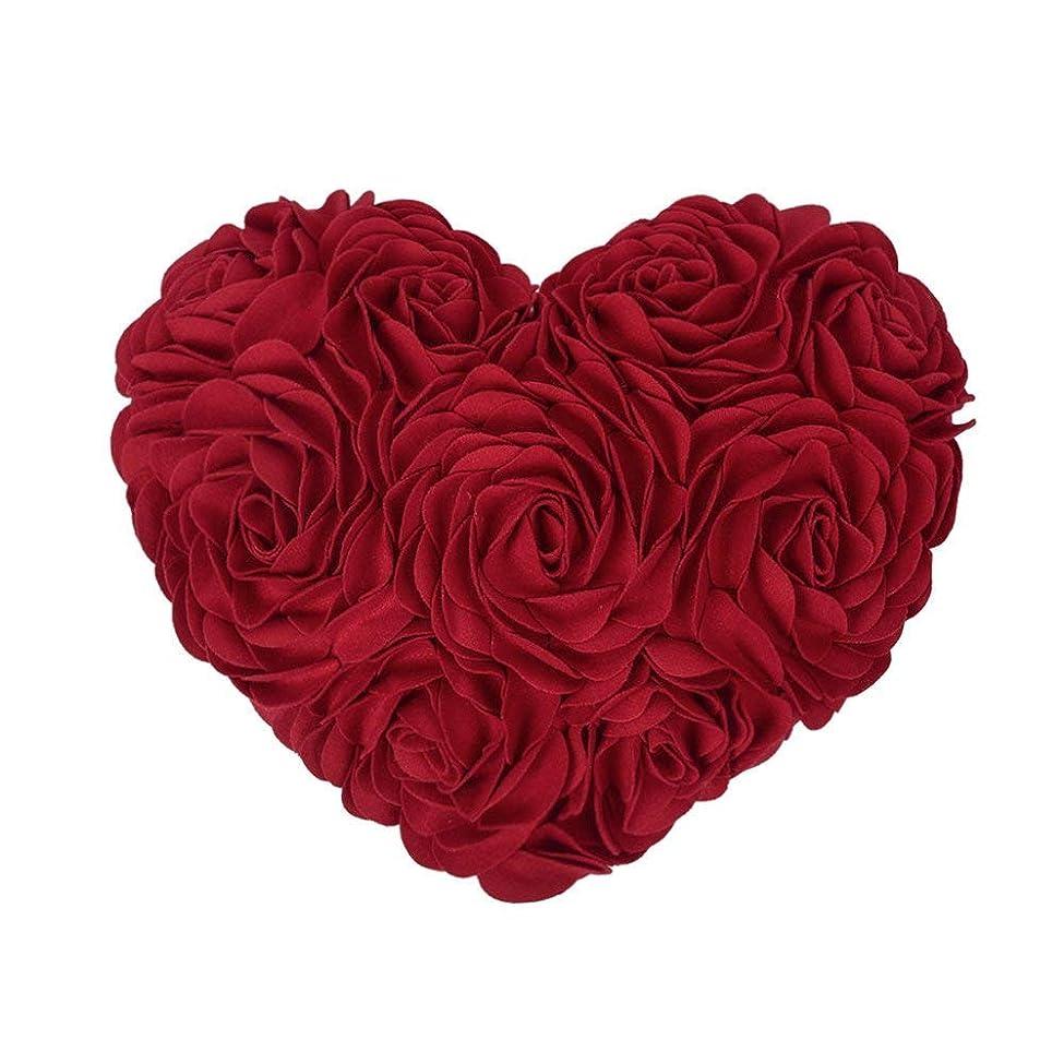 悲劇依存するクールJWH 3D 花柄 ハート クッション 装飾枕 誕生日 パーティー プレゼント ロマンチック雰囲気 部屋 ソファ 車 飾り レッド