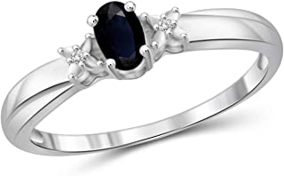 Jewelexcess 0.30 Carat T.G.W. Sapphire and White Diamond Accent Sterling Silver Ring