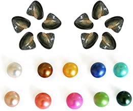 WISVOOO Pearl Oysters Freshwater Cultured, Love Wish Pearls Wholesale, Colored Pearls Loose Beads for Pendant Jewelry Making Birthday Gift, 7-8mm,10 Oysters, AAA Grade