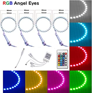 Qiuko 4pcs 80mm LED Angel Eyes Ring Multi-Color RGB 16 Color Changing Flashing 5050 COB Angel Eye Halo Ring Light Kit Plus Remote Control For BMW E30 Non-Projector E38 E36 E39 3 5 7 Series