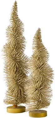 TAG Gold Evergreen Shimmer Metallic Christmas Trees Decorative Accent Artificial Plant Table Top Decors Yule Decorations Indoor Outdoor Display Set of 2