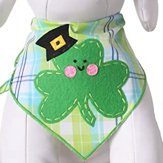 Tail Trends St. Patricks Day Dog Bandanas with Designer Applique for Medium to Large Sized Dogs - 100% Cotton