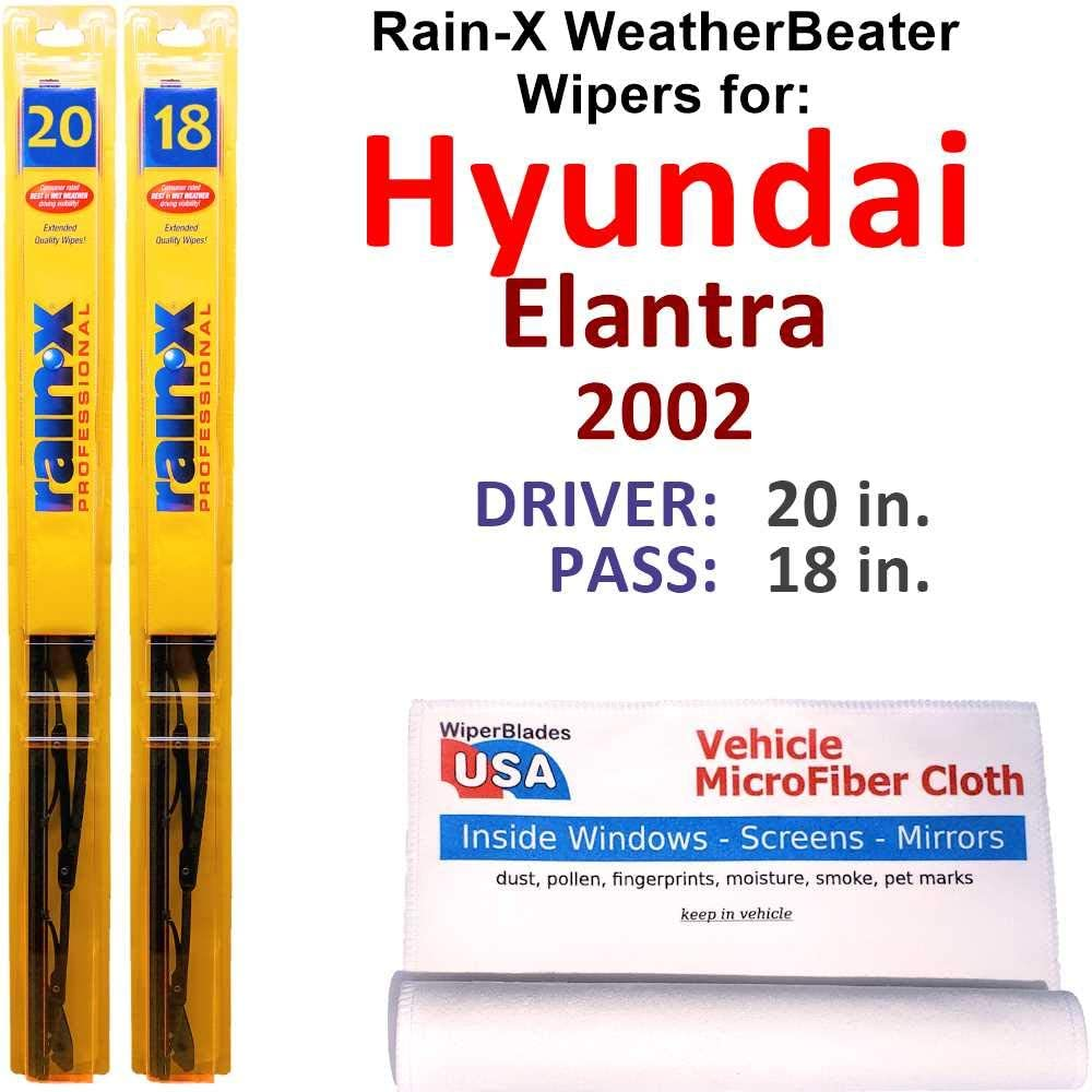 Rain-X WeatherBeater Wiper Blades for Los Angeles Mall Set R Hyundai 2002 Elantra Large special price !!