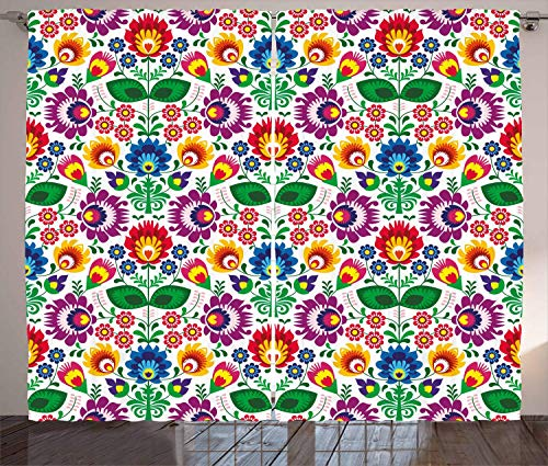 FAFANIQ Floral Curtains, Symmetrical Floral Arrangement with Rainbow Inspired Color Scheme Sixties Vibes Love, Living Room Bedroom Window Drapes 2 Panel Set, Multicolor,57 * 47 Inch