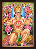 Handicraft Store Hanuman Showing Sita Ram Sitting in His Heart, a Holy Hindu Religious Poster Painting with Frame for Worship Purpose