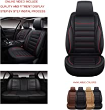 Oasis Auto OS-005 Leather Universal Car Seat Covers Automotive Vehicle Cushion That Fits All Sedan Most SUV and Small Pick-Up Truck (Black/RED Trim, Full Set)