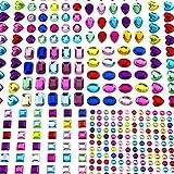 AIEX 8 Blätter 365 Pcs Selbstklebend Strass Sticker Crystal Gem Aufkleber Sortierte Farben und Formen