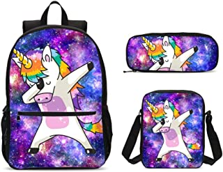 PrelerDIY Galaxy Unicorn Backpack Set 3 Piece 17 Inch Plus Book Bag Shoulder Bag Pencil Case for Boys Girls 1-6th Grade Kids Back to School